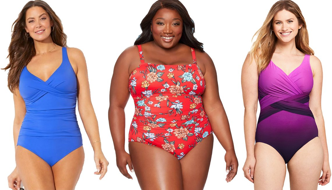 item 3 of Gallery image - Swimsuits for All Iris Ruched V Neck One Piece Swimsuit Dreamsuit By Miracle Brands Womens Plus Size Slimming Control Shirred One Piece Swimsuit in Red Lands End Womens Slender Tummy Control Chlorine Resistant V neck Wrap One Piece Swimsuit Print