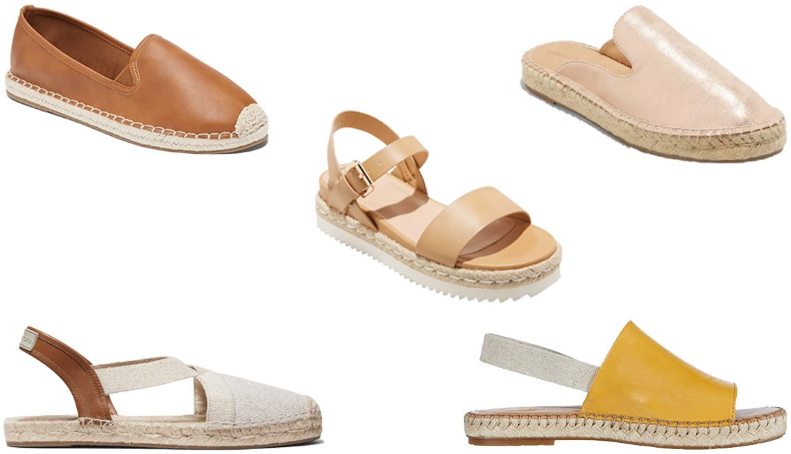 item 2, Gallery image. (Clockwise from center) A New Day Women's Rianne Espadrille Ankle Strap Sandals; Universal Thread Women's Clara Espadrille Mules in Rose Gold; Børn San Isabel in Yellow Full Grain; Michael Kors Prue Espadrille in Hemp; Old Navy Faux-Leather Espadrille Flats for Women in Cognac Brown