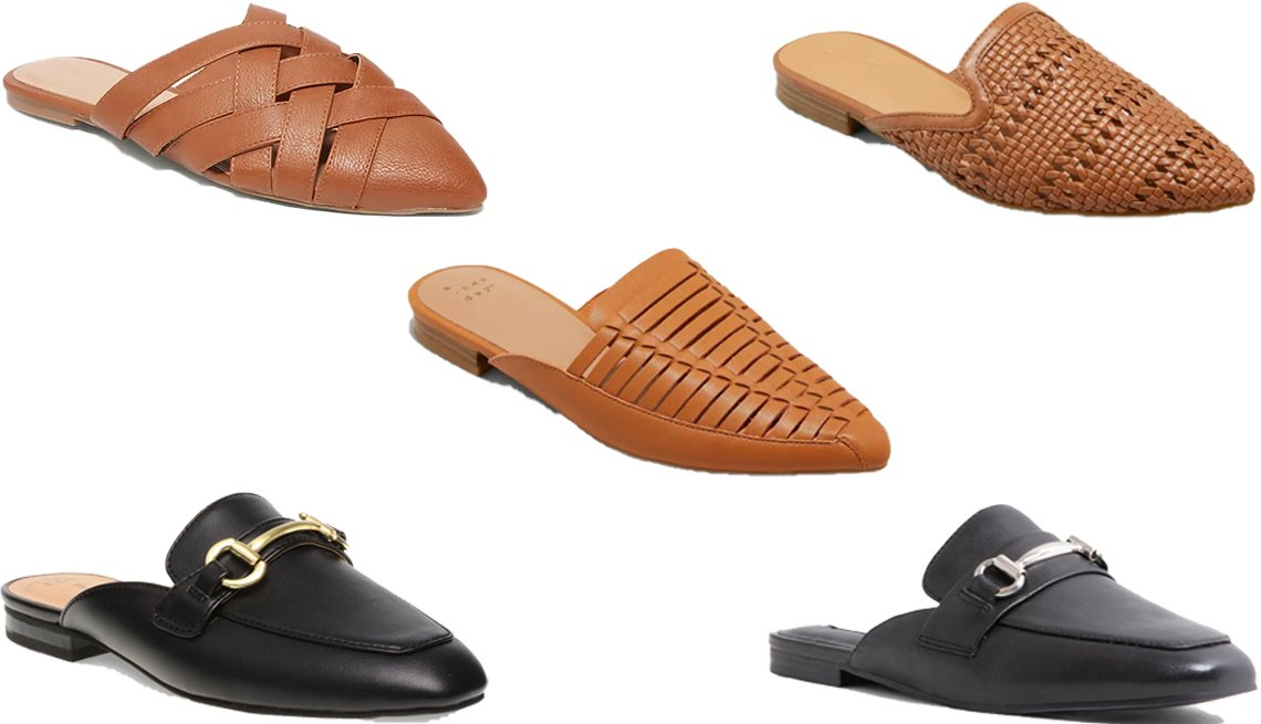 item 5, Gallery image. (Clockwise from center) A New Day Women's Blair Faux Leather Woven Mules in Cognac; Universal Thread Women's Whisper Mules in Cognac; Steve Madden Kori Leather Mule in Black Leather; Time and Tru Horsebit Loafer Mule in Black; Old Navy Faux Leather Braided Mule Flats for Women in Whiskey