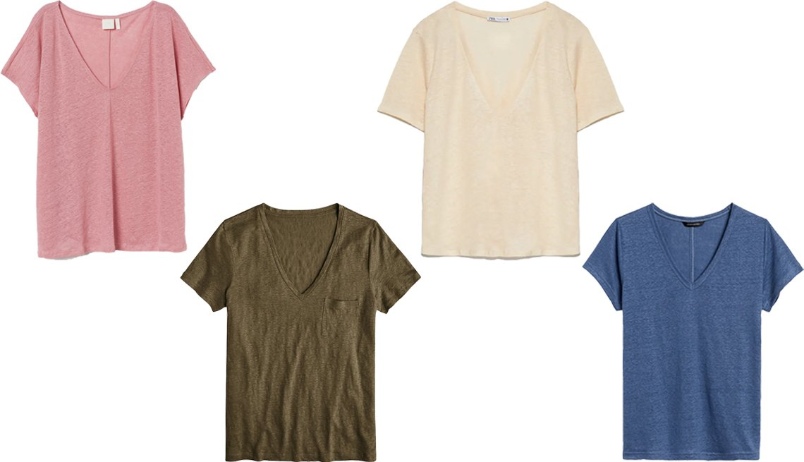 item 2, Gallery image. (Left to right) H&M Linen V-Neck T-Shirt in Dusty Rose; J. Crew Linen V-Neck Pocket T-Shirt in Frosty Olive; Zara Linen Tee in Beige; Banana Republic Linen V-Neck T-Shirt in Indigo Fog