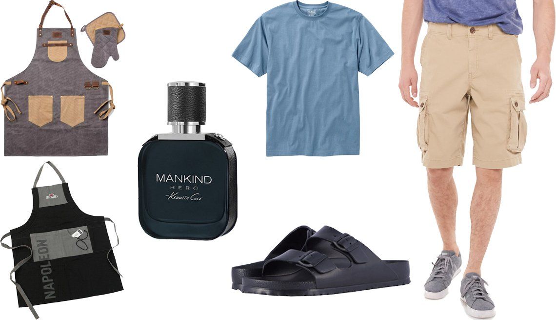 item 8, Gallery image. (Clockwise from left middle) Kenneth Cole New York Mankind Hero Eau de Toilette; L.L. Bean Men's Carefree Unshrinkable Tee Traditional Fit Short-Sleeve in Delta Blue; Men's Urban Pipeline Ultimate Stretch Twill Cargo Shorts in Feather Gray; Arizona Birkenstock Essentials in Black EVA; Napoleon Pro Grilling Apron; Superior Trading Co. 3-pc. BBQ Apron Bundle