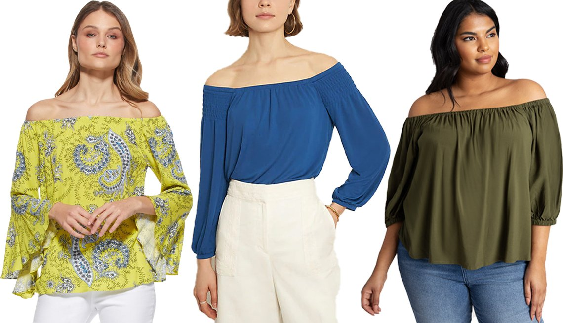 item 4, Gallery image. (Left to right) Scoop Women's Printed Off-the-Shoulder Top in Yellow Paisley; Ann Taylor Matte Jersey Smocked Off the Shoulder Top in Blue Majesty; Eloquii Off the Shoulder Top in Best Frond