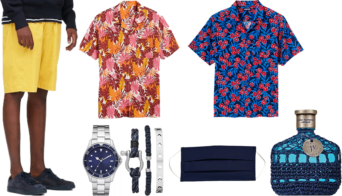 item 7, Gallery image. (Clockwise from left) Uniqlo Men Dry Stretch Easy Shorts in 44 Yellow; Gap Short-Sleeve Shirt in Poplin in Pink Palms; Land's End Men's Traditional Fit Short Sleeve Camp Collar Hawaiian Shirt in Deep Sea Tropical Floral; John Varvatos Artisan Blu Eau de Toilette; Old Navy Triple Layer Cloth Face Mask for Adults in Blues; Goodfellow & Co Men's Blue Dial Silver Bracelet Diver Watch Set