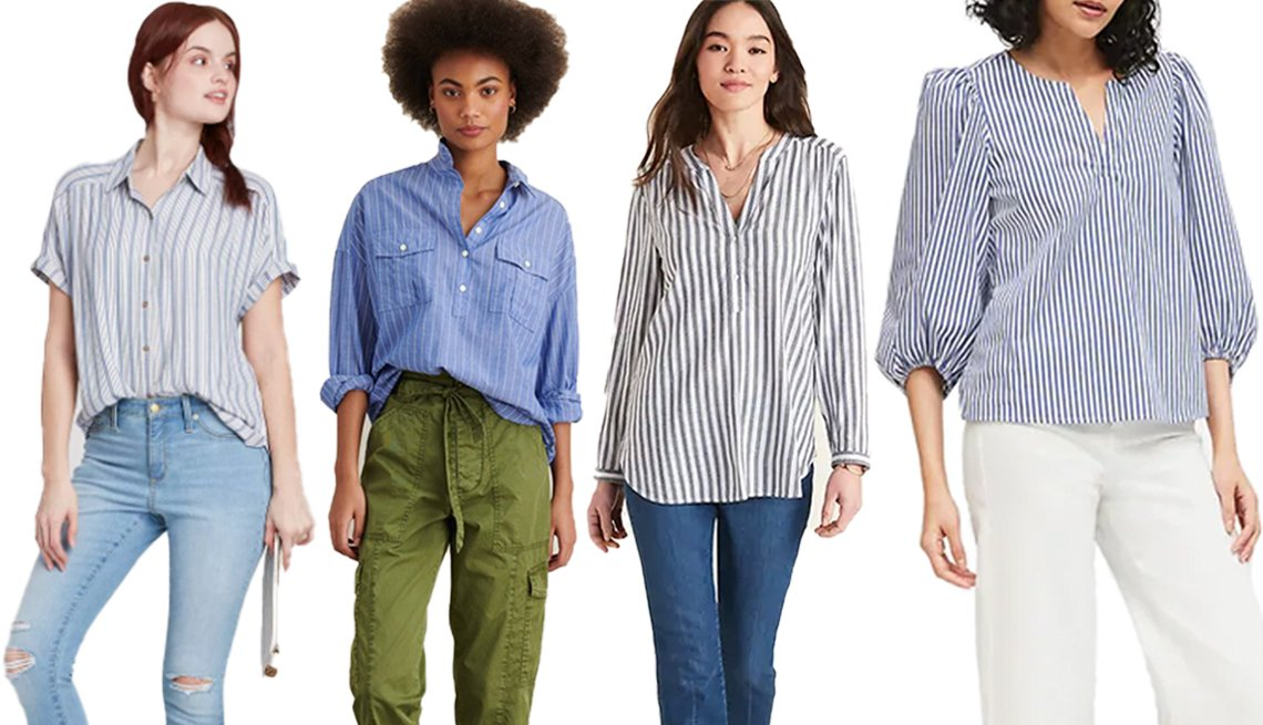 item 8, Gallery image. (Left to right) Universal Thread Short Sleeve Button-Down Camp Shirt in Blue; Alex Mill Keeper Popover in Striped Cotton Gauze; Old Navy Vertical-Stripe Split-Neck Popover Tunic for Women in Blue/Gray Stripe; Banana Republic Poplin Puff-Sleeve Blouse in White Stripe