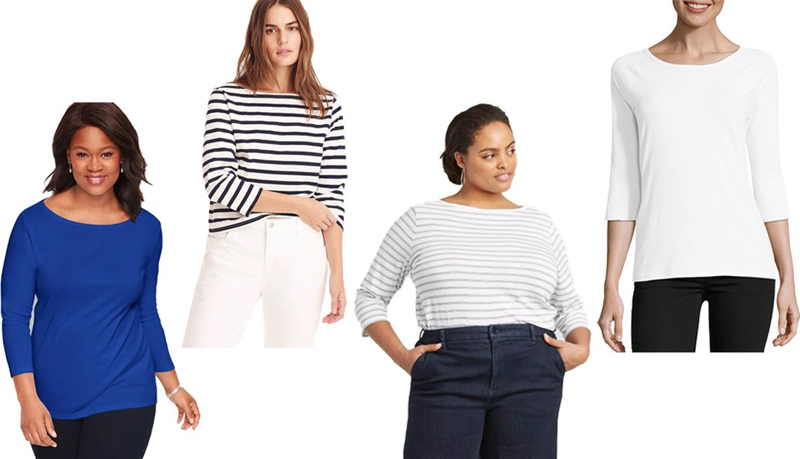 item 7, Gallery image. (Left to right) Talbots Cotton Bateau Neck Tee in Maliblue; J. Crew Structured Boatneck T-Shirt in Icon Stripe Khaki Navy; A New Day Women's Plus Size 3/4-Sleeve Boat Neck T-Shirt; Hanes Women Stretch Cotton Raglan 3/4-Sleeve Tee