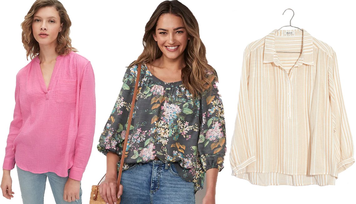 item 5 of Gallery image - Gap Gauzy Popover Shirt in Cotton in Pink Orchid Womens L C Lauren Conrad Banded Neck Peasant Top in Floral Belles Black Madewell Striped Gauze Drop Shoulder Popover Top