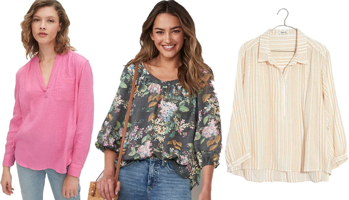 item 5, Gallery image. (Left to right) Gap Gauzy Popover Shirt in Cotton in Pink Orchid; Women's LC Lauren Conrad Banded Neck Peasant Top in Floral Belles Black; Madewell Striped Gauze Drop Shoulder Popover Top