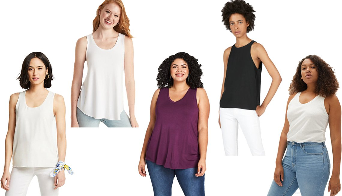 item 1, Gallery image. (Left to right) Ann Taylor Mixed Jersey Tank in Winter White; Old Navy Luxe Scoop-Neck Tank for Women in Calla Lily White; Modcloth Endless Possibilities Tank in Plum; Everlane The Japanese GoWeave High-Neck Tank in Black; Everlane The ReCotton Racerback Tank in Off-White
