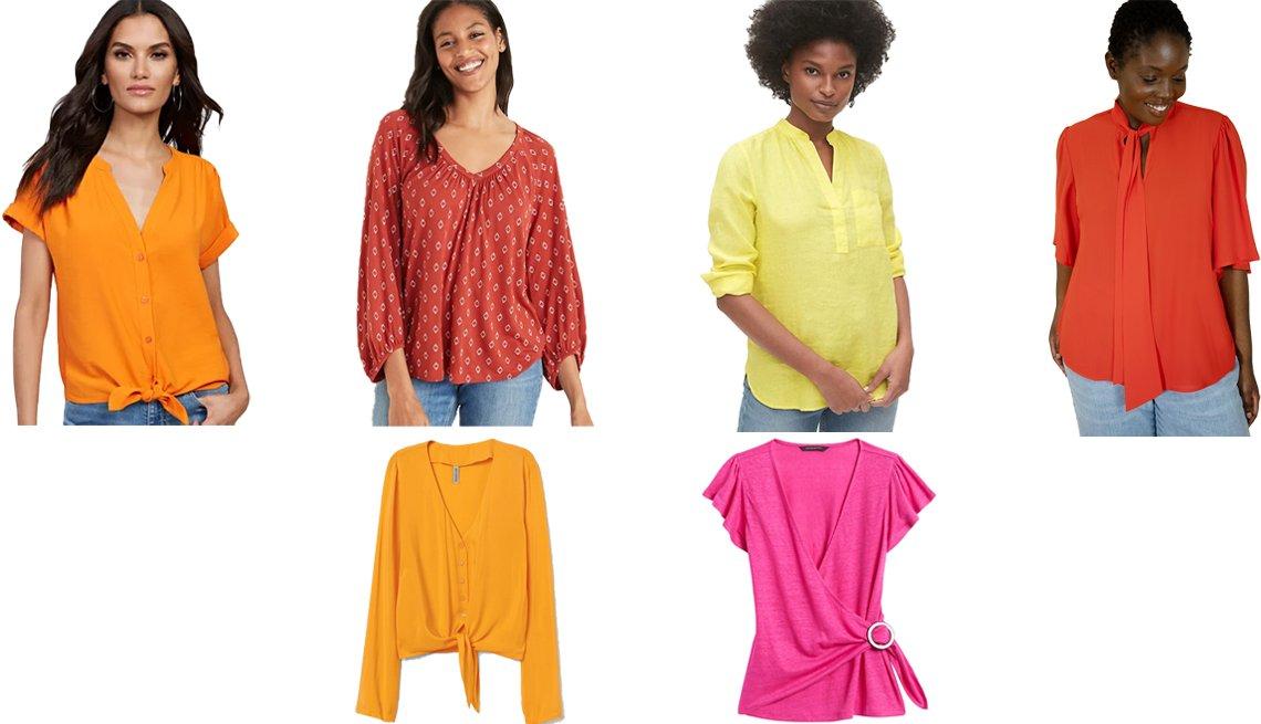 item 1, Gallery image. (Fila superior, desde la izq.) Blusa de manga corta con amarre delantero, de New York & Company, en anaranjado amanecer; blusa de manga fruncida estilo raglán, de Old Navy, en estampado rojo; blusa de lino con bolsillo estilo 'Popver', de Gap, en amarillo brillante; blusa de moño con manga de volantes, de Eloquii, en amapola; (fila inferior) blusa de cuello en V con amarre delantero, de H&M, en amarillo; blusa de lino envolvente, de Banana Republic, en rosado