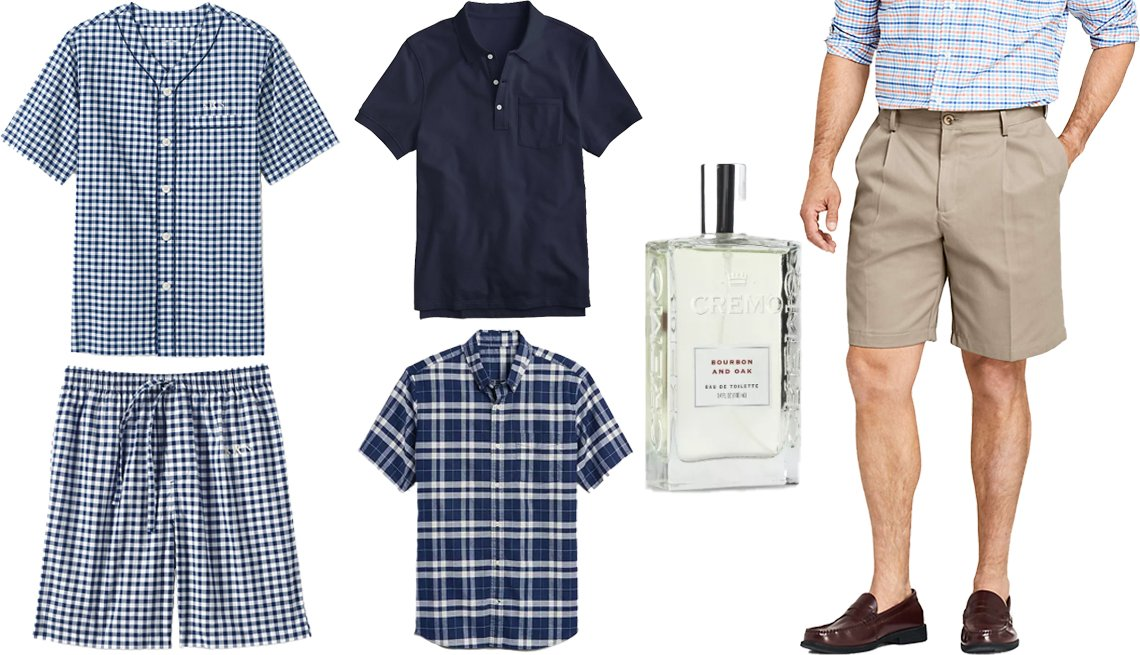 "item 6, Gallery image. Lands' End Men's Broadcloth Pajama Shorts and Pajama Shirt in Navy/White Gingham (top and bottom left); J. Crew Stretch Pique Polo Shirt in Navy (top middle); Gap Stretch Poplin Short Sleeve Shirt in Navy Plaid (bottom middle); Cremo Bourbon & Oak Men's Spray Cologne (right middle); Lands' End Comfort Waist Pleated 9"" No-Iron Chino Shorts"