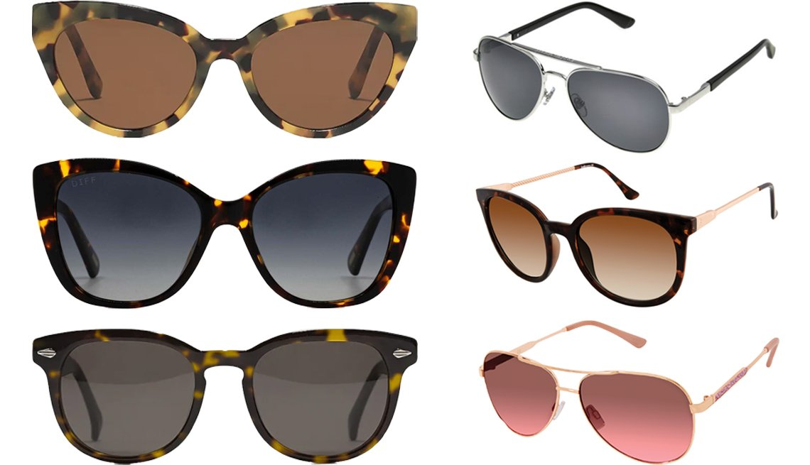 item 4, Gallery image. (Clockwise from top left) J. Crew Pacific Cat-Eye Sunglasses in Caramel Tort; Foster Grant TP 05; Laundry by Design Women's Rectangular Sunglasses with 100% UV Protection; Jessica Simpson Women's Metal Aviator Sunglasses with 100% UV protection; J. Crew Dock Sunglasses for Men; Women's DIFF Eyewear Ruby Tortoise Polarized Sunglasses