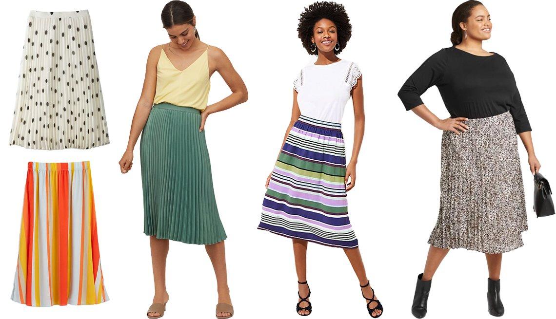 item 6, Gallery image. Falda de corte en línea A plisada a media pierna y de cintura alta, de A New Day, en blanco (arriba a la izq.); falda rayada a media pierna, de Loft, en ámbar (abajo a la izq.); falda plisada, de H&M, en verde (en el centro a la izq.); falda fruncida a media pierna con estampado de rayas, de Loft (en el centro a la der.); falda plisada a media pierna con estampado de leopardo, de A New Day, talla grande