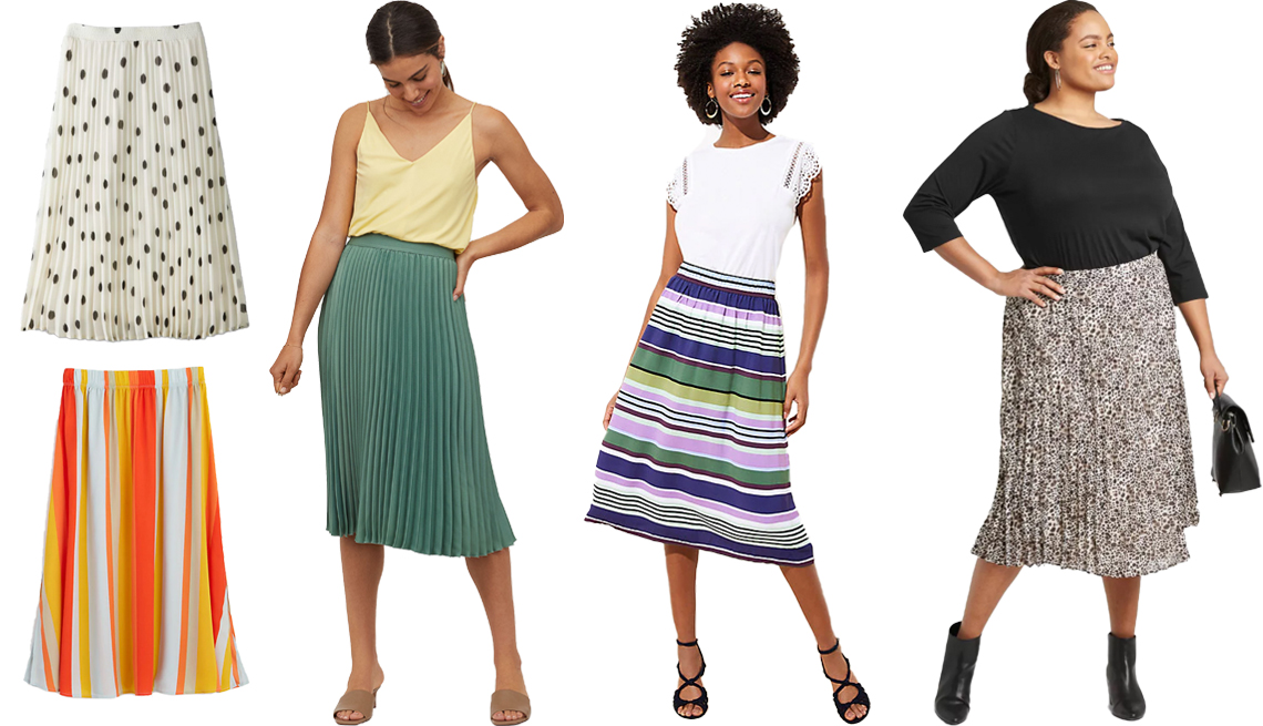 item 6 of Gallery image - A New Day Womens High Rise Pleated A Line Midi Skirt in White Loft Striped Pull On Midi Skirt in Burnt Amber H and M Pleated Skirt in Green Loft Stripe Shirred Midi Skirt A New Day Womens Plus Size Leopard Print Pleated Midi Skirt
