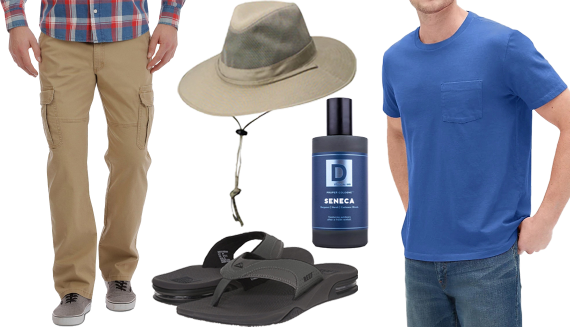 item 9, Gallery image. Wrangler Men's Relaxed Fit Stretch Cargo Pants in Elmwood Twill (left); DPC Solarweave Men's Mesh Safari Hat (top); Reef Fanning in Grey/Black (bottom); Duke Cannon Aquatic & Fresh Woods Seneca Men's Proper Cologne (center right); Gap Pocket T- Shirt in Crisp Royal Blue (right)