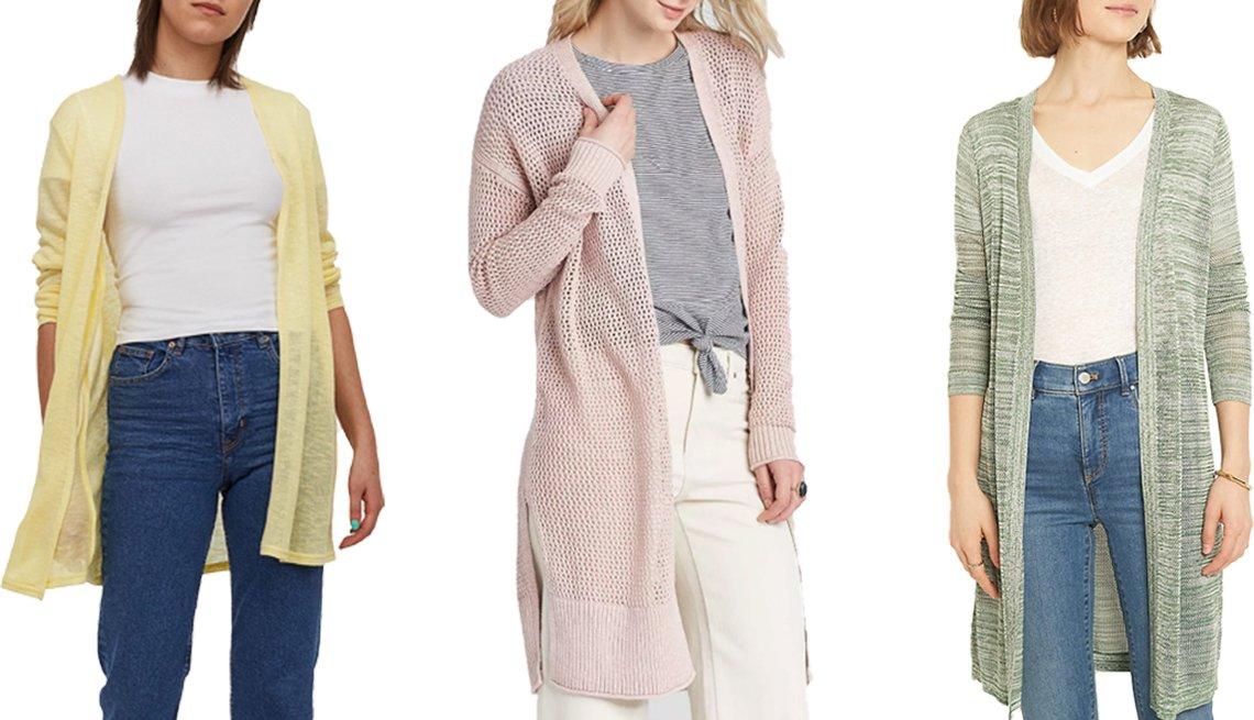 item 4, Gallery image. (De izq. a der.) Cárdigan de tejido suelto, de H&M, en amarillo claro; cárdigan para mujer, de punto abierto, de Universal Thread, en rosa; cárdigan abierto 'Spacedye', de Ann Taylor, en verde follaje.