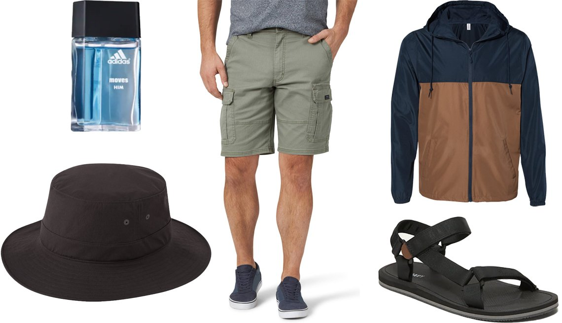 item 5, Gallery image. (Clockwise from bottom left) Uniqlo UV Protection Sports Hat in 09 Black (also available in 69 Navy color); Adidas Moves for Him Spray Eau de Toilette; Wrangler Men's Cargo Short with Stretch in Dusty Olive; Independent Trading Co. Water-Resistant Lightweight Windbreaker-A; Old Navy Webbed-Canvas Hiking Sandals for Men