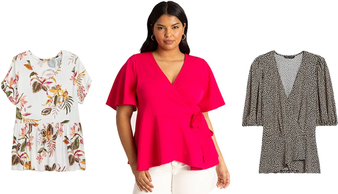 item 6, Gallery image. (Left to right) Old Navy Twist-Sleeve Plus-Size Peplum Hem Top in Pink/White Floral; Eloquii Flutter Sleeve Peplum Wrap Top in Love Potion; Banana Republic Print Puff-Sleeve Wrap Effect Top in Brown Animal