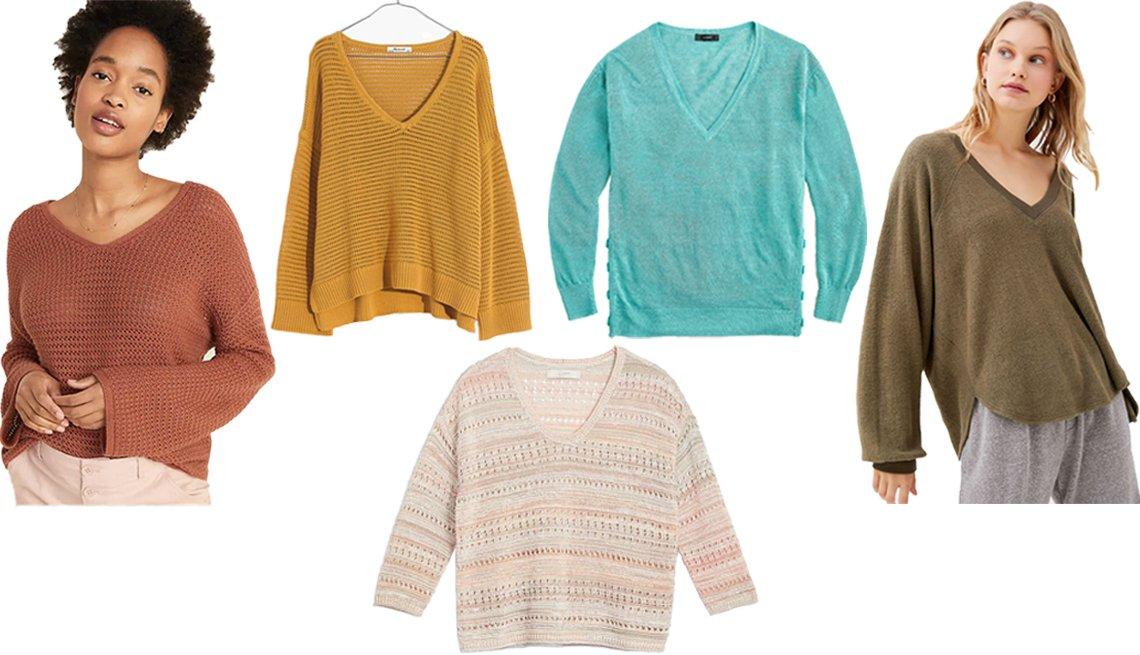 item 3, Gallery image. (Desde la izq., en el sentido de las agujas del reloj) Suéter tejido holgado de cuello en V para mujer, de Old Navy, en color 'Pretty Penny'; suéter jersey tejido en jaspeado estilo 'Seville', de Madewell, en color 'Golden Plume'; suéter de cuello en V con botones laterales de combinación de lino, de J.Crew, en aguamarina; cómodo suéter de cuello en V 'UO Lilith', de Urban Outfitters, en oliva; suéter de cuello en V, de Loft Stitchy