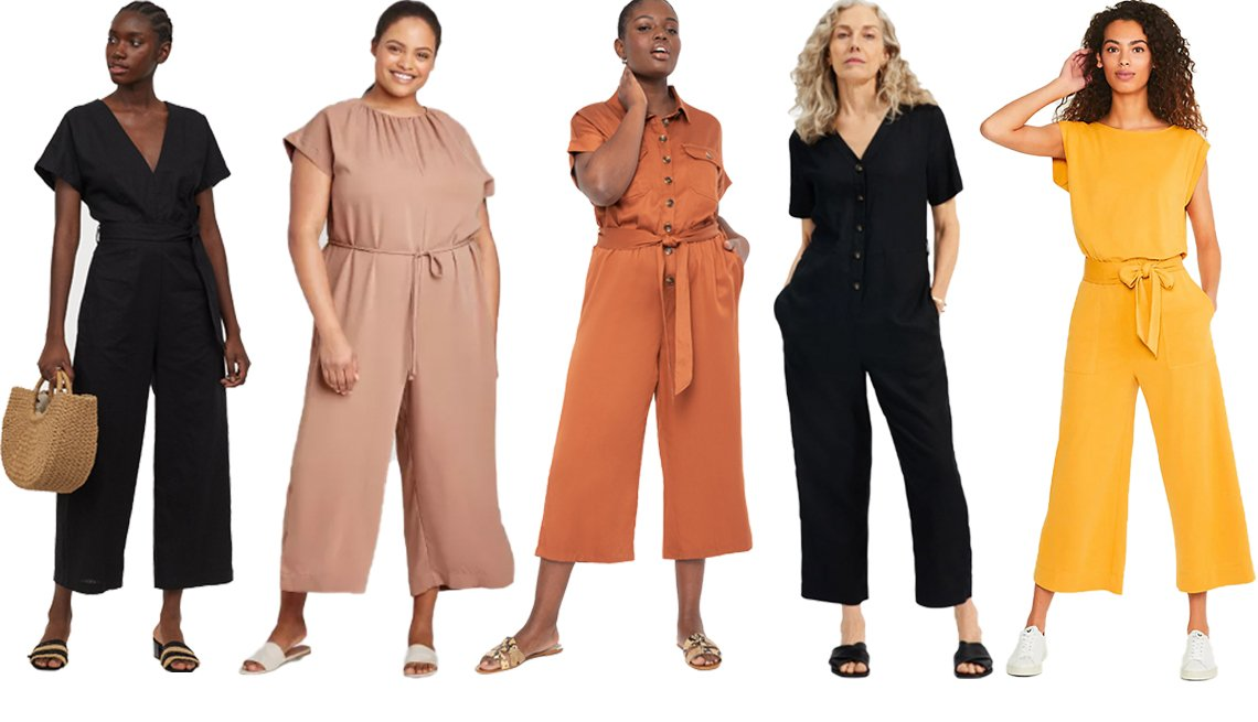 item 9, Gallery image. (Left to right) H&M Linen Blend Jumpsuit in Black; Prologue Women's Plus Size Short Sleeve Ankle Length Jumpsuit in Brown; Eloquii Soft Utility Jumpsuit in Rusty Brown; Everlane The Linen Short Sleeve Jumpsuit in Washed Black; Loft Lou & Grey Sandwashed Jumpsuit