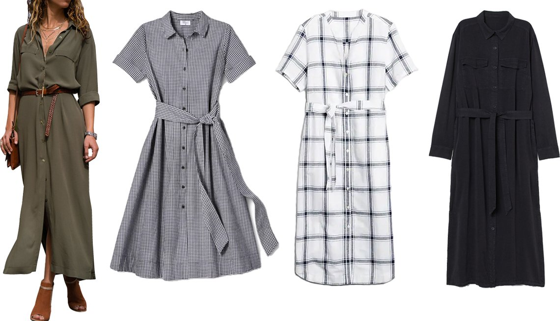 item 5, Gallery image. (Left to right) Sexy Dance Women's Long Sleeve Maxi Shirt Dress in Army Green; Lisa Marie Fernandez for Target (Regular & Plus) Women's Small Gingham Button-Front Shirtdress in Black/White; Gap Midi Shirtdress in Linen-Cotton in Navy Blue Windowpane Plaid; H&M Denim Shirtdress in Black