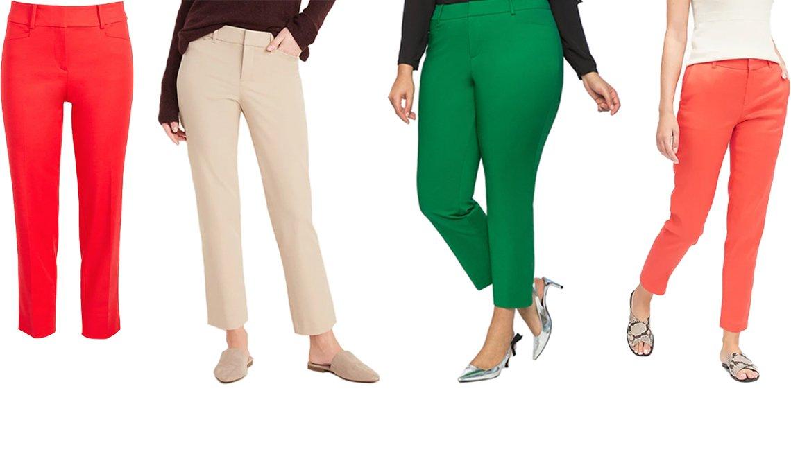 item 2, Gallery image. (De izq. a der.) Pantalones Riviera en carmesí fuego, de Loft; nuevos tobilleros rectos de talle medio para mujer, de Old Navy, en color 'Upper Crust'; pantalones ajustados de doble tejido, de Eloquii Kady, en verde frondoso; pantalones rectos de lino-algodón estilo 'Avery', de Banana Republic, en rosa coral neón