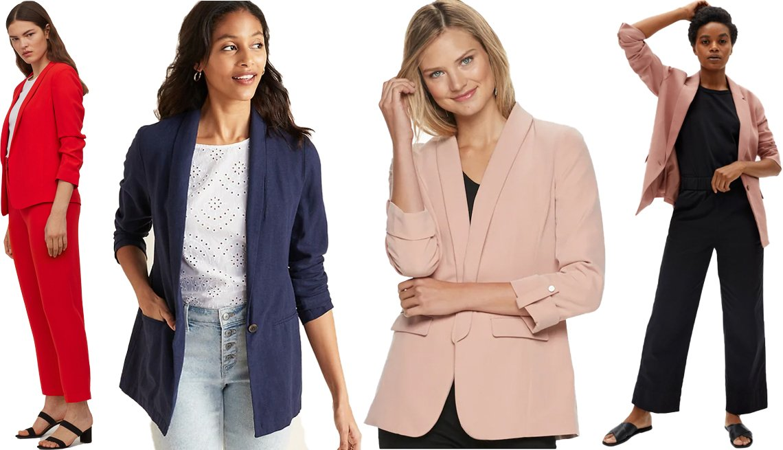 item 10, Gallery image. (Left to right) H&M Shawl Collar Jacket in Red; Old Navy Linen-Blend Blazer for Women in Navy; Everlane The Easy Blazer in Cameo Pink; Apt. 9 Women's Open-Front Long Boyfriend Blazer in Beige Mauve