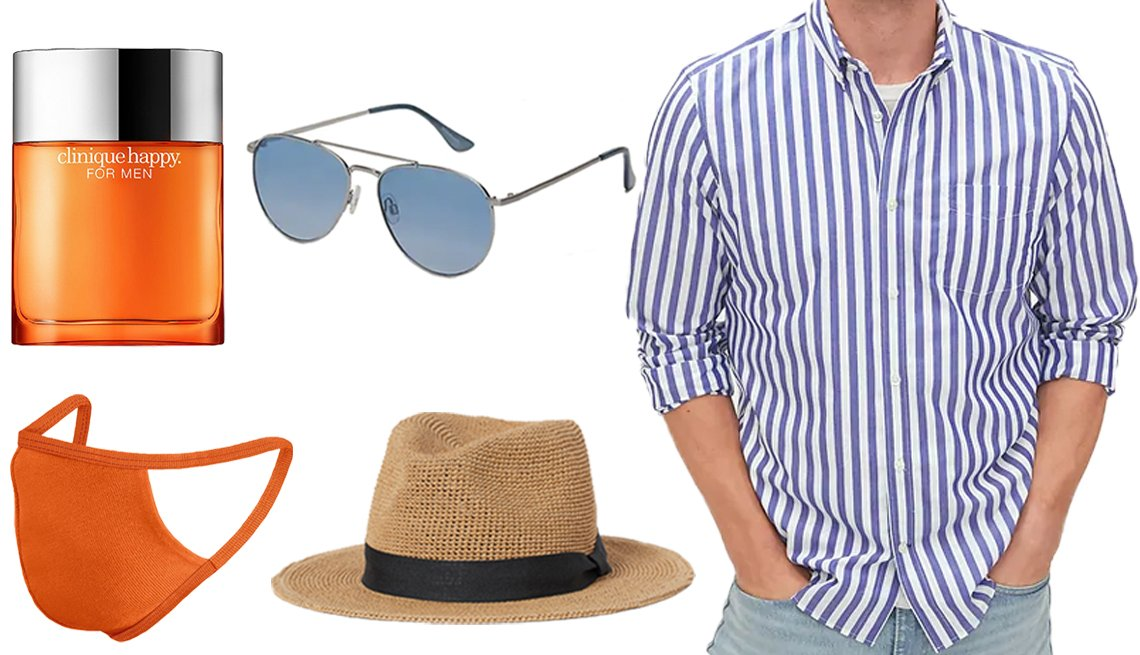 item 1, Gallery image. (Clockwise from top left) Clinique Happy for Men Cologne Spray; Old Navy Aviator Sunglasses for Men in Silver; Gap Performance Poplin Shirt in Medium Stripe; H&M Straw Hat; City Threads 100% Soft Cotton Reusable Face Mask in Orange