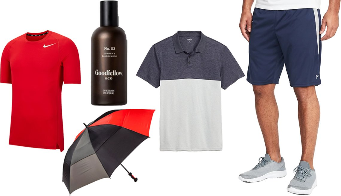 item 2, Gallery image. (Left to right) Men's Nike Training Tee in University Red White; ShedRain Air Vent Golf Umbrella; Goodfellow & Co No. 02 Juniper & Sandalwood Men's Spray Cologne; Old Navy Go-Dry Cool Odor-Control Core Color-Blocked Polo for Men in Shades of Gray; Old Navy Go-Dry Side-Panel Performance Shorts for Men in Lost at Sea Navy
