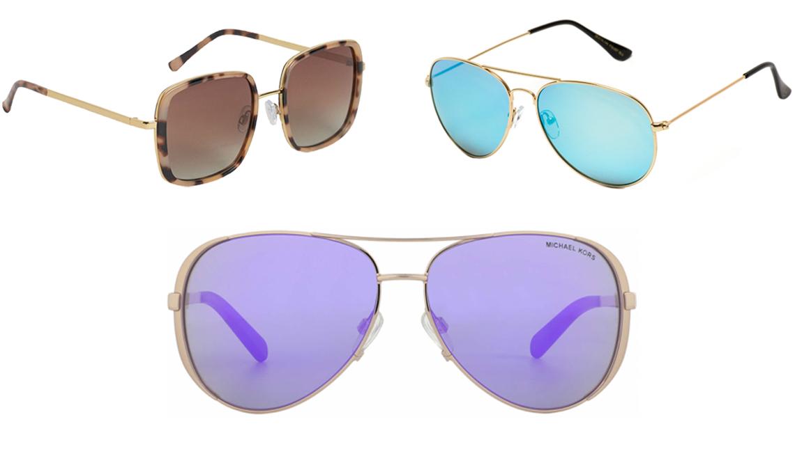 item 11 of Gallery image - (De izq. a der., en el sentido de las agujas del reloj) Gafas de sol polarizadas H&M para mujer en dorado/con diseños; gafas de sol WearMe Pro Aviator Full Mirror Silver en marco dorado/lentes espejadas azules; Michael Kors MK5004 con lentes espejadas violeta/oro rosado