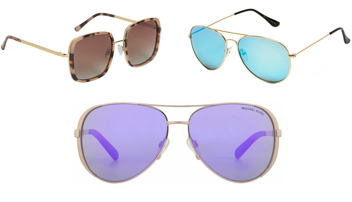 item 11, Gallery image. (Clockwise from top left) H&M Polarized Women's Sunglasses in Gold-Colored/Patterned; WearMe Pro Aviator Full Mirror Silver Sunglasses in Gold Frame/Mirror Blue Lenses; Michael Kors MK5004 in Rose Gold/Purple Mirror Lens