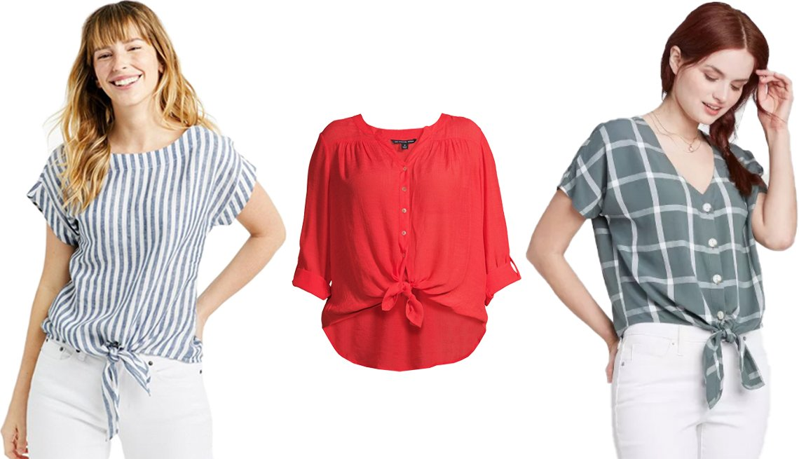 item 10, Gallery image. (Left to right) L.L. Bean Women's Signature Short Sleeve Linen Top in Dark Marine Blue Stripe; Zac+Rachel Women's Plus Size Roll Sleeve Button Down Equipment Shirt in Poppy Red; Universal Thread Short Sleeve V-Neck Button Down Relaxed Fit Shirt in Green
