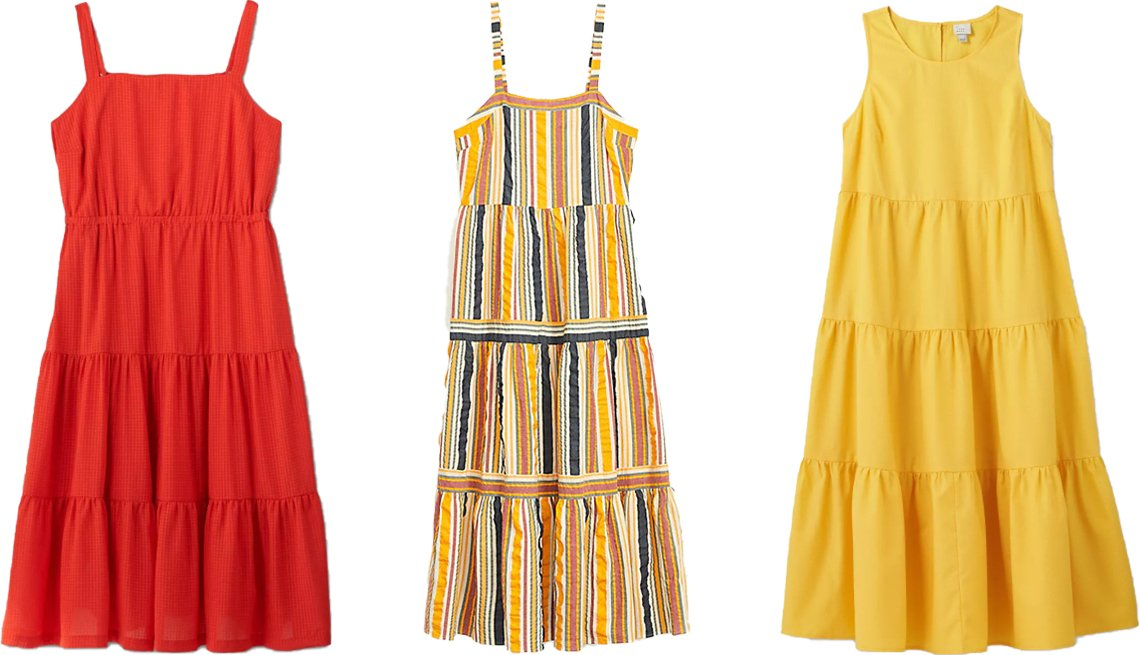 item 7, Gallery image. (Left to right) Ava & Viv Women's Plus Size Sleeveless Tiered Sundress in Red; Loft Striped Tiered Maxi Dress; A New Day Women's Sleeveless Tiered Dress in Dark Yellow