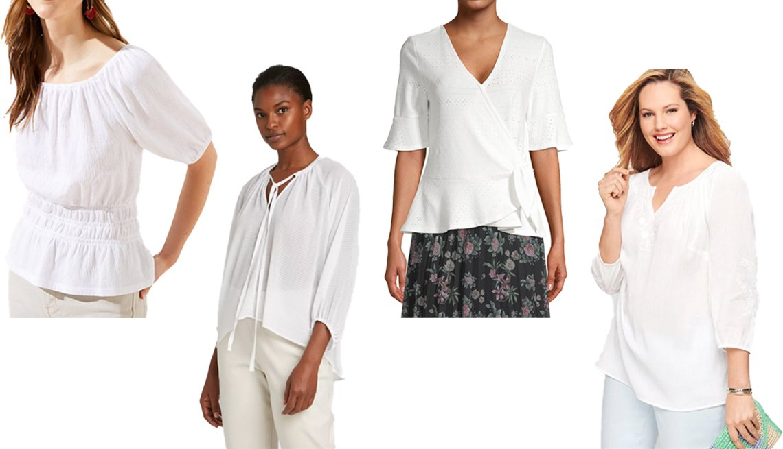 item 3, Gallery image. (Left to right) Loft Textured Cinched Waist Top; Prologue Women's Balloon Long Sleeve Blouse; Como Blu Women's Short Sleeve Eyelet Wrap Top in Cloud Dancer Combo; Talbots Flower Embroidered Gauze Top in White