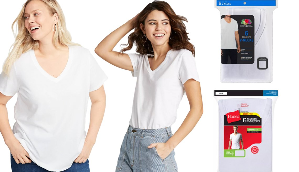 item 11, Gallery image. Old Navy EveryWear Plus Size V-Neck Tee in Calla Lilies (left); Universal Thread Women's Short-Sleeve V-Neck T-Shirt in White (middle); Fruit of the Loom Men's 6-pack V-Neck T-Shirt in White (top right); Hanes Men's 6-pack V-Neck T-Shirt in White (bottom right)