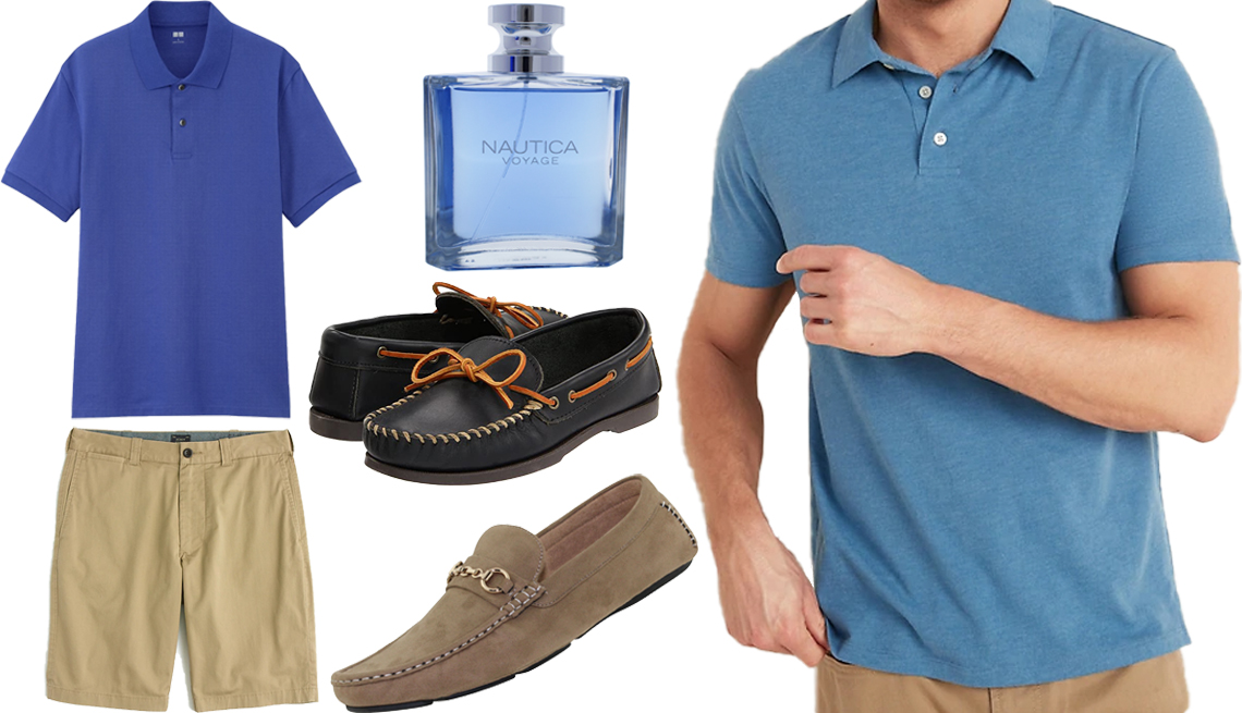 "item 3, Gallery image. Uniqlo Men Dry Pique Short-Sleeve Polo Shirt in 66 Blue (top left); J. Crew 10.5"" Stretch Short in Dusty Khaki (bottom left); Nautica Voyage Eau de Toilette Spray Cologne for Men (top middle); Minnetonka Camp Mocc (center); Amali Men's Faux Suede Ecker Driving Moccasin in Oyster (bottom middle); Old Navy Soft-Washed Jersey Polo for Men in Babe The Blue Ox (right)"