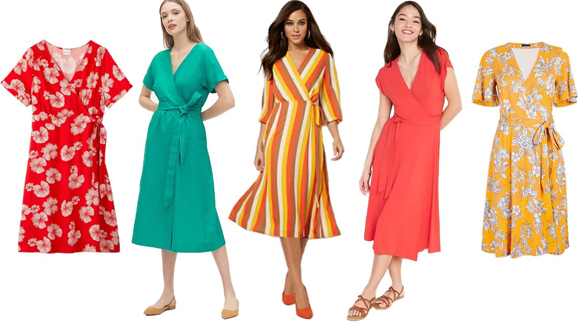item 8, Gallery image. (Left to right) Ava & Viv Women's Plus-Size Floral Print Short Sleeve Wrap Dress in Red; Gap Short Sleeve Wrap-Front Dress in Linen-Cotton in Turquoise Blue; Eva Mendes Collection Brenda Wrap Dress in Orange; Old Navy Wrap-Front Dolman-Sleeve Midi Dress for Women in Bright Coral; Ann Taylor Tropical Toile Flutter Sleeve Dress in Fresh Mandarin