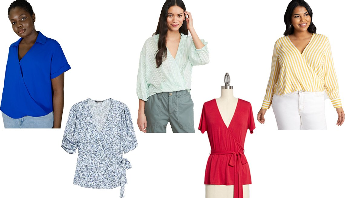 item 9, Gallery image. (Left to right) Eloquii Crossover Top with Collar in Plava; Banana Republic Ecovero Wrap Top in Navy Blue Ikat; Loft Lou & Grey Striped Wrap Shirt in Willow; Modcloth The Surplice is Right Faux-Wrap Top in Red; Eloquii Crossover Top in Yellow/White