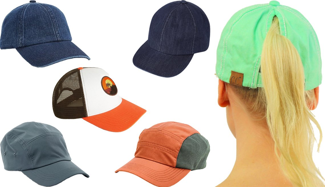 item 1, Gallery image. (Clockwise from left center) Mango Embroidered Mesh Cap; Uniqlo UV Protection Denim Cap in 68 Blue; C.C. Ponytail Messy Buns Baseball Cap; San Diego Hat Company Lightweight Cap style # OCM4656 in Rust; Old Navy Nylon Tech Baseball Cap for Men in Olive Green; Gap Baseball Hat in Denim
