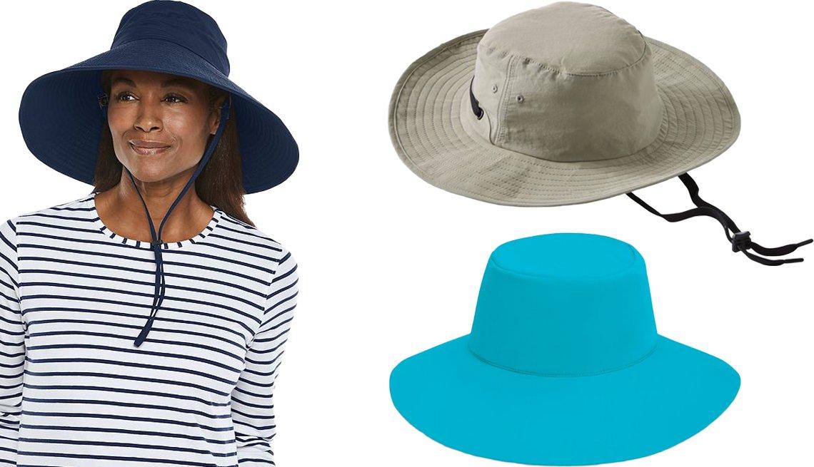 item 8, Gallery image. (Desde la izquierda, en el sentido de las agujas del reloj) Sombrero de playa y viaje para mujer Travel Beach Hat UPF 50+ de Coolibar; sombrero para mujer Bean Tropicwear Outback Hat de L.L. Bean; sombrero Aqua Hat de Wallaroo Hat Company