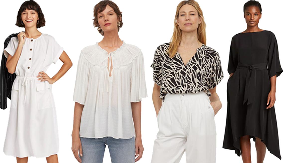item 1 of Gallery image - (De izquierda a derecha) Vestido utilitario de manga corta para mujer color crema de A New Day; blusa en mezcla de modal en blanco de H&M; blusa en tela arrugada estampada en negro de H&M; vestido de manga dolmán de 3/4 en negro de Prologue
