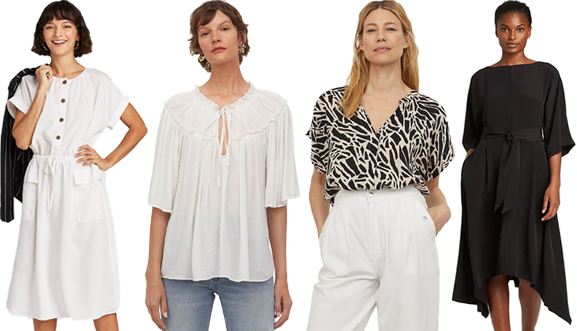item 1, Gallery image. (Left to right) A New Day Women's Short Sleeve Utility Dress in Cream; H&M Modal-Blend Blouse in White; H&M Crinkled Blouse in Black/Patterned; Prologue Women's Dolman 3/4 Sleeve Dress in Black
