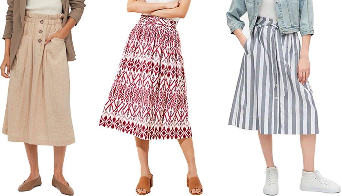 Falda hasta la pantorrilla en color beige de H&M; falda a media pierna sin cierre de Loft Ikat; falda a media pierna a rayas con botones y amarre al frente de Gap