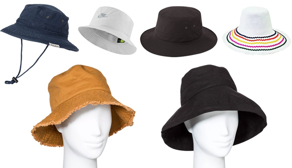 item 4, Gallery image. (Clockwise from top left) Field & Stream Men's Pigment Dyed Bucket Hat; Nike Men's Sportswear Bucket Hat; Uniqlo UV Protection Sports Hat in 09 Black; San Diego Hat Company CTH8264-Bucket Hat with Ric Rac Trim and Fray Edge; A New Day Women's Bucket Hat in Black; Universal Thread Women's Canvas Bucket with Fringe Hats in Brown
