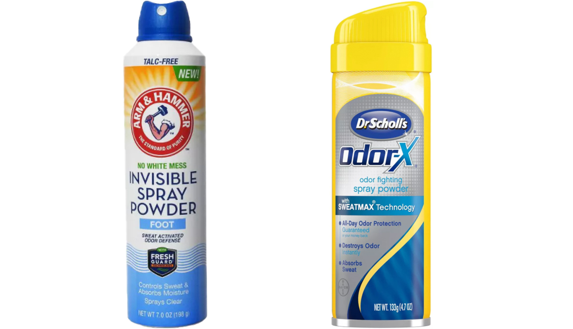 item 10, Gallery image. Arm & Hammer Invisible Spray Foot Powder (left) and Dr. Scholl's Odor-X Odor Fighting Spray Powder
