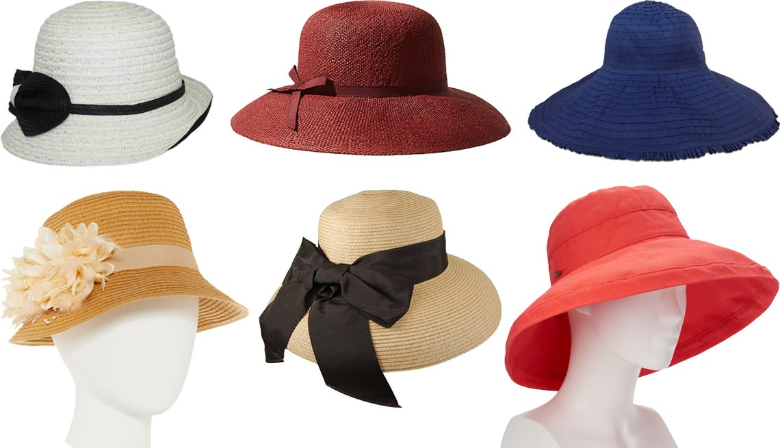 item 6, Gallery image. (Clockwise from top left) Jeanne Simmons Paper Braid Cloche Hat; Loft Straw Cloche Hat in Sunwashed Clay; Hat Attack New York Easy Sunhat in Navy; Women's Scala Cotton Big Brim Hat in Coral; Hats Unlimited Boardwalk Style Straw Lampshade Sunhat with Ribbon; August Hat Co. Inc. Cloche Hat