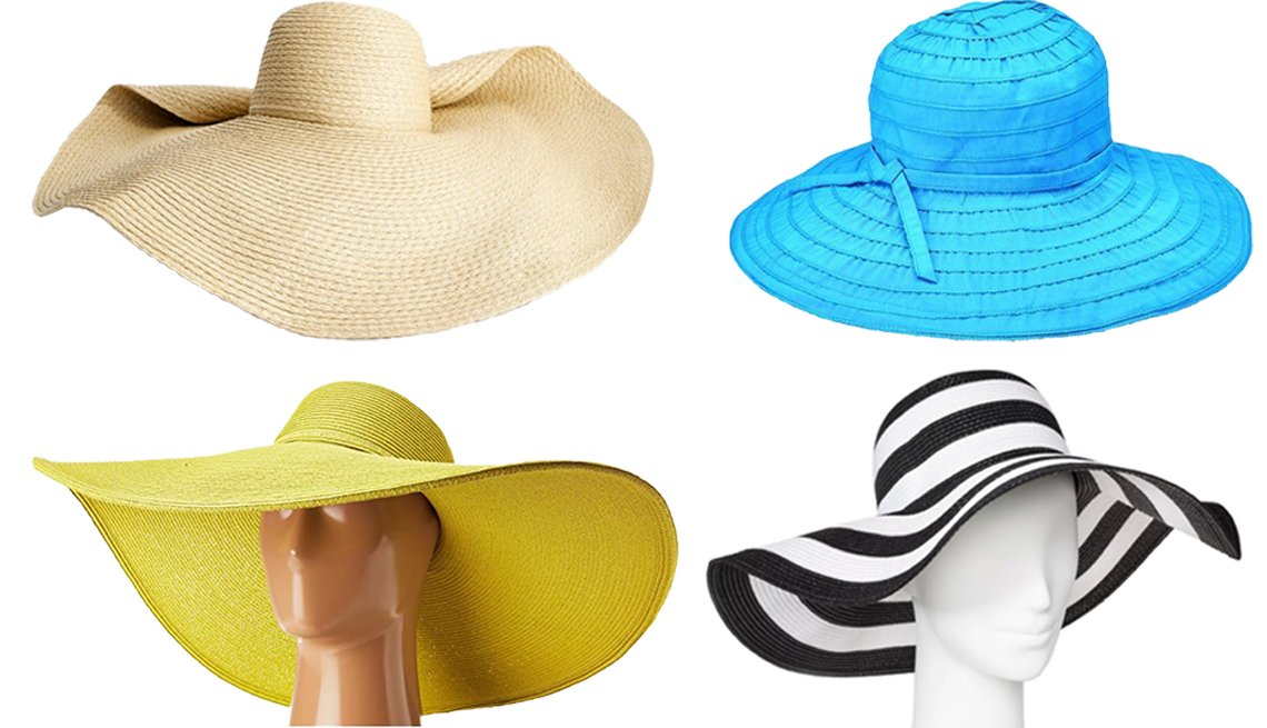 item 5, Gallery image. (Clockwise from top left) Mango Straw Hat; San Diego Hat Company Women's Adjustable Tie Floppy style # RBL47700SBLK; A New Day Women's Floppy Hat in Black/White; San Diego Hat Company UBX2535 Ultrabraid XL Brim Sun Hat in Citron