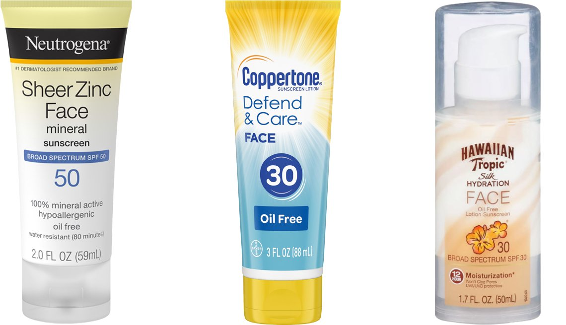 item 3, Gallery image. (Left to right) Neutrogena Sheer Zinc Dry-Touch Face Sunscreen SPF 50; Coppertone Defend & Care Face Sunscreen Oil Free SPF 30; Hawaiian Tropic Silk Hydration Weightless Face Sunscreen SPF 30
