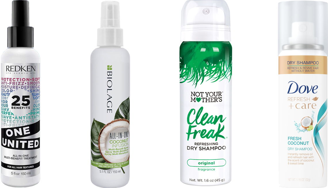 item 6, Gallery image. (Left to right) Redken One United Multi-Benefit Treatment Spray; Matrix Biolage All-In-One Coconut Infusion Multi-Benefit Spray; Not Your Mother's Clean Freak Refreshing Travel Size Dry Shampoo; Dove Refresh+Care Fresh Coconut Travel Size Dry Shampoo