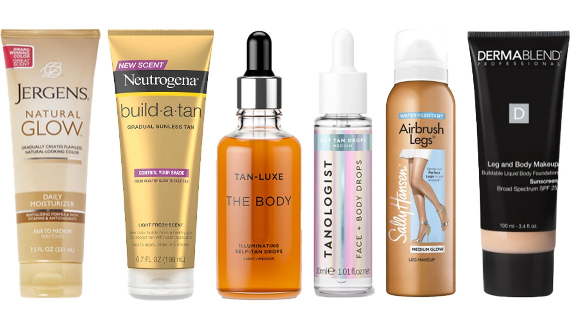 Crema Jergens Natural Glow Daily Moisturizer; Neutrogena Build a Tan Lotion; Tan-Luxe The Body Illuminating Self-Tan Drops; Tanologist Face + Body Drops; Sally Hansen Airbrush Legs Spray; maquillaje para piernas y cuerpo Dermablend Leg and Body Makeup