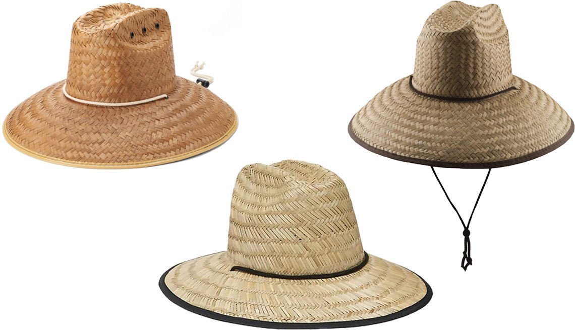 item 8, Gallery image. (Clockwise from top left) Peter Grimm Hasselhoff Lifeguard Panama Hat; Dorfman Pacific Palm Lifeguard Straw Sun Hat; Old Navy Straw Lifeguard Hat for Men in Tan